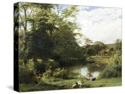 Gathering Watercress on the River Mole, Surrey-William Frederick Witherington-Stretched Canvas Print