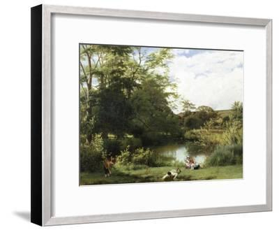 Gathering Watercress on the River Mole, Surrey-William Frederick Witherington-Framed Giclee Print