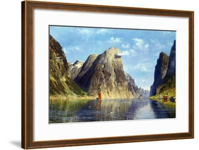 Calm Day on the Fjord, Norway-Adelsteen Normann-Framed Giclee Print
