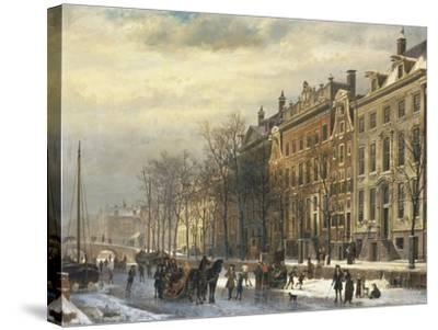 View on the Herengracht Along the Amstel at Amsterdam-Cornelis Springer-Stretched Canvas Print