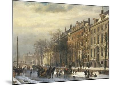 View on the Herengracht Along the Amstel at Amsterdam-Cornelis Springer-Mounted Giclee Print