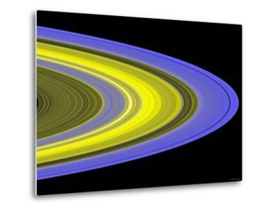 False-Color Image of Saturn's Main Rings Made Using Cassini's Ultraviolet Imaging Spectrograph-Stocktrek Images-Metal Print