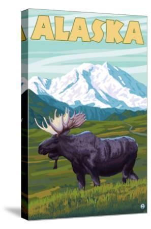 Denali National Park Moose and Mount McKinley-Lantern Press-Stretched Canvas Print