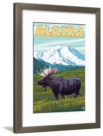 Denali National Park Moose and Mount McKinley-Lantern Press-Framed Art Print