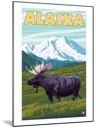 Denali National Park Moose and Mount McKinley-Lantern Press-Mounted Art Print
