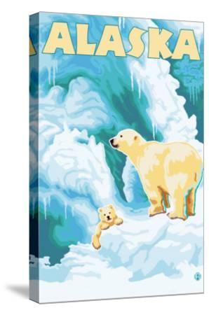 Alaska Polar Bears on Iceberg-Lantern Press-Stretched Canvas Print