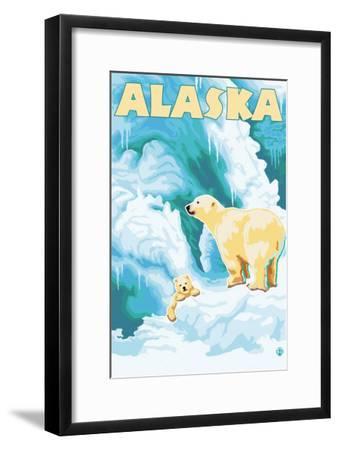 Alaska Polar Bears on Iceberg-Lantern Press-Framed Art Print