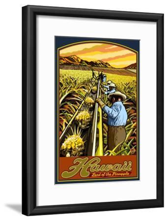 Hawaiian Pineapple Harvest-Lantern Press-Framed Art Print