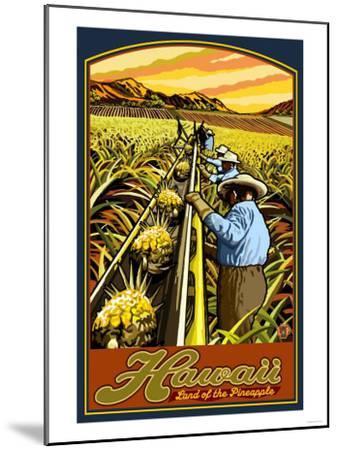 Hawaiian Pineapple Harvest-Lantern Press-Mounted Art Print