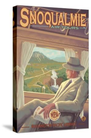 Snoqualmie by Air, Snoqualmie Falls, Washington-Lantern Press-Stretched Canvas Print