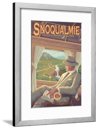 Snoqualmie by Air, Snoqualmie Falls, Washington-Lantern Press-Framed Art Print