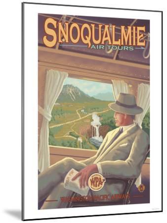 Snoqualmie by Air, Snoqualmie Falls, Washington-Lantern Press-Mounted Art Print