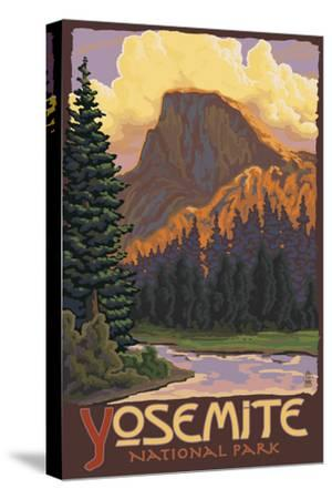Half Dome, Yosemite National Park, California-Lantern Press-Stretched Canvas Print