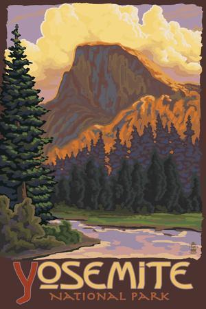 Half Dome, Yosemite National Park, California-Lantern Press-Art Print