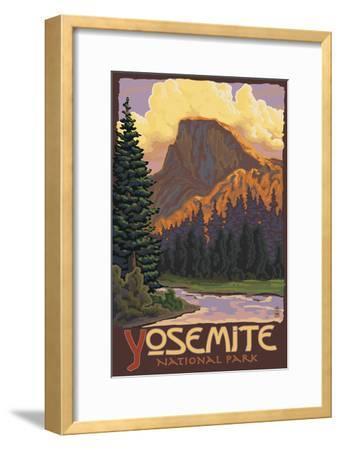 Half Dome, Yosemite National Park, California-Lantern Press-Framed Art Print