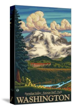Paradise Inn, Mt. Rainier National Park, Washington-Lantern Press-Stretched Canvas Print