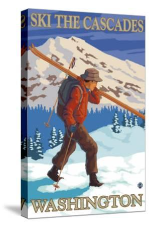 Ski the Cascades, Cascade Mountains, Washington-Lantern Press-Stretched Canvas Print