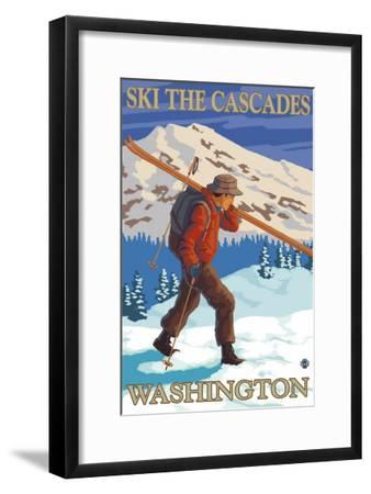 Ski the Cascades, Cascade Mountains, Washington-Lantern Press-Framed Art Print