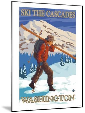 Ski the Cascades, Cascade Mountains, Washington-Lantern Press-Mounted Art Print
