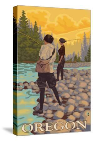 Oregon Women Fly Fishing-Lantern Press-Stretched Canvas Print