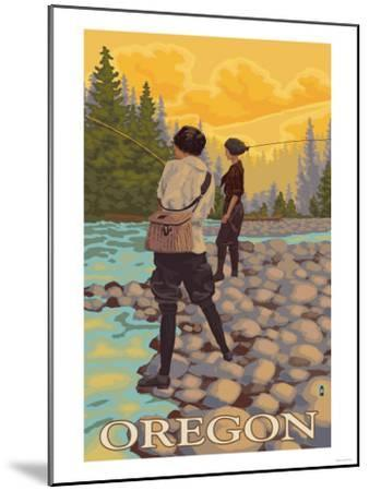 Oregon Women Fly Fishing-Lantern Press-Mounted Art Print