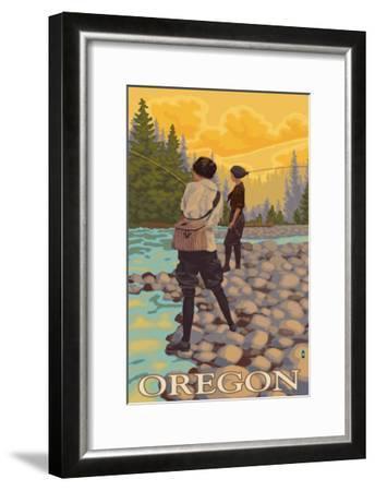 Oregon Women Fly Fishing-Lantern Press-Framed Art Print