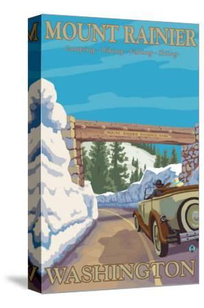 Entrance to Park, Mt. Rainier National Park, Washington-Lantern Press-Stretched Canvas Print