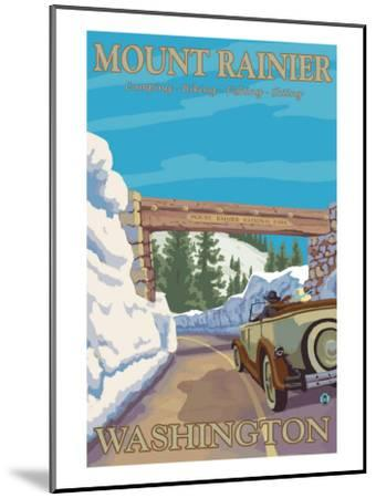 Entrance to Park, Mt. Rainier National Park, Washington-Lantern Press-Mounted Art Print