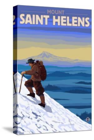 Mountain Climbing, Mount St. Helens, Washington-Lantern Press-Stretched Canvas Print