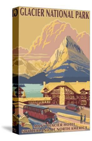 Many Glacier Hotel, Glacier National Park, Montana-Lantern Press-Stretched Canvas Print
