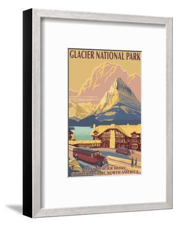 Many Glacier Hotel, Glacier National Park, Montana-Lantern Press-Framed Art Print