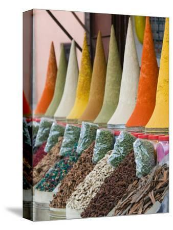 Place Des Ferblatiers, Mountains of Moroccan Spices Souk, Marrakech, Morocco-Walter Bibikow-Stretched Canvas Print