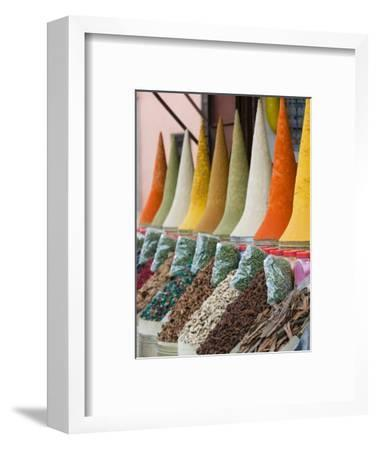 Place Des Ferblatiers, Mountains of Moroccan Spices Souk, Marrakech, Morocco-Walter Bibikow-Framed Photographic Print