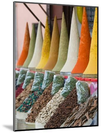 Place Des Ferblatiers, Mountains of Moroccan Spices Souk, Marrakech, Morocco-Walter Bibikow-Mounted Photographic Print