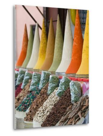 Place Des Ferblatiers, Mountains of Moroccan Spices Souk, Marrakech, Morocco-Walter Bibikow-Metal Print