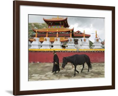 Tibetan Man with Horse in Tagong Monastery, Sichuan, China-Keren Su-Framed Photographic Print