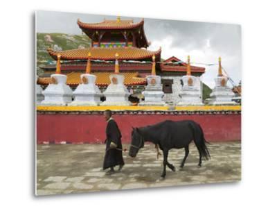 Tibetan Man with Horse in Tagong Monastery, Sichuan, China-Keren Su-Metal Print