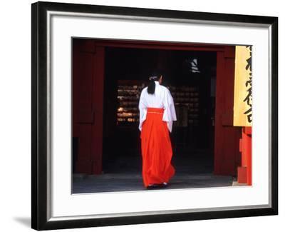 Woman Enters the Tsurugaoka Hachimangu Shrine, Kamakura, Japan-Nancy & Steve Ross-Framed Photographic Print