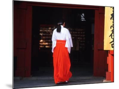 Woman Enters the Tsurugaoka Hachimangu Shrine, Kamakura, Japan-Nancy & Steve Ross-Mounted Photographic Print
