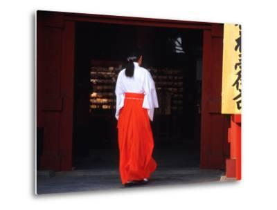 Woman Enters the Tsurugaoka Hachimangu Shrine, Kamakura, Japan-Nancy & Steve Ross-Metal Print