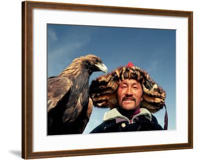Takhuu Head Eagle Man, Altai Sum, Golden Eagle Festival, Mongolia-Amos Nachoum-Framed Photographic Print