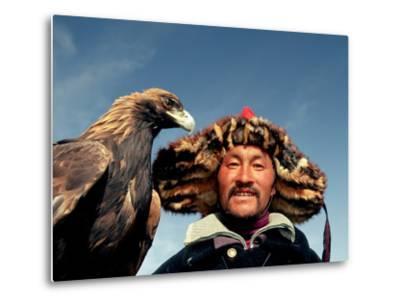 Takhuu Head Eagle Man, Altai Sum, Golden Eagle Festival, Mongolia-Amos Nachoum-Metal Print