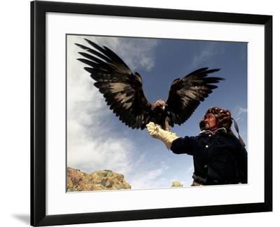 Takhuu Raising His Eagle, Golden Eagle Festival, Mongolia-Amos Nachoum-Framed Photographic Print