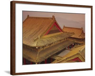 Wenwu Temple Rooftops with Sun Moon Lake in Background, Taiwan-Steve Satushek-Framed Photographic Print