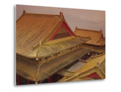 Wenwu Temple Rooftops with Sun Moon Lake in Background, Taiwan-Steve Satushek-Metal Print