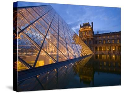 The Louvre at Twilight, Paris, France-Jim Zuckerman-Stretched Canvas Print