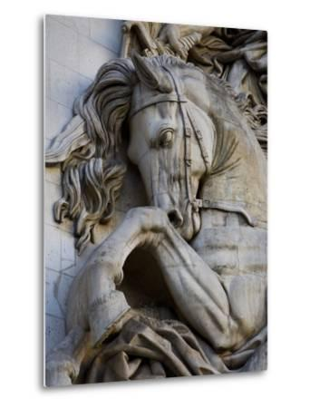 Horse Head Detail on the Arc de Triomphe, Paris, France-Jim Zuckerman-Metal Print
