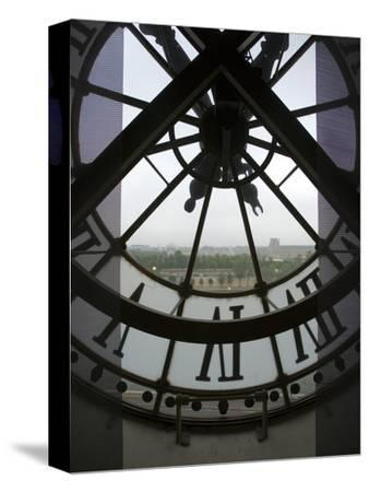 View Across Seine River Through Transparent Face of Clock in the Musee d'Orsay, Paris, France-Jim Zuckerman-Stretched Canvas Print