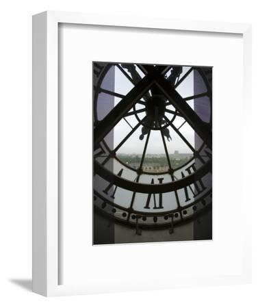 View Across Seine River Through Transparent Face of Clock in the Musee d'Orsay, Paris, France-Jim Zuckerman-Framed Photographic Print