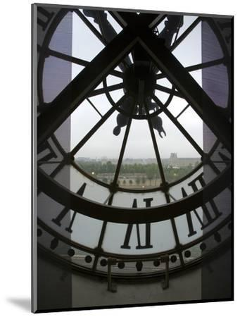 View Across Seine River Through Transparent Face of Clock in the Musee d'Orsay, Paris, France-Jim Zuckerman-Mounted Photographic Print